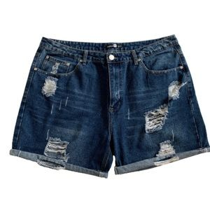 Boohoo High Rise Distressed Ripped Jean Shorts